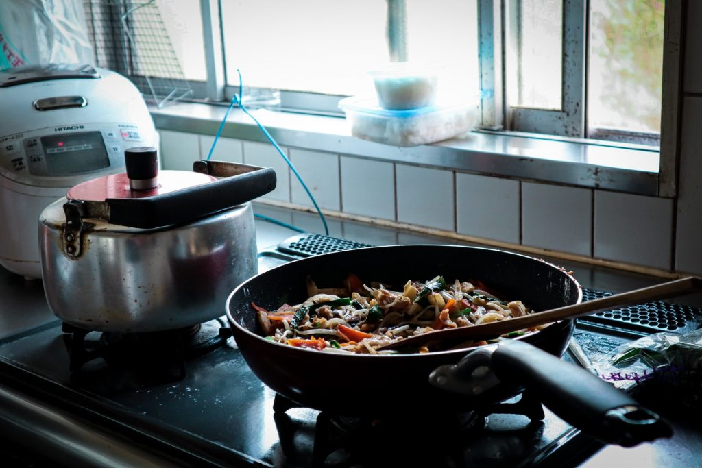 Vegetables cooking in a pan.